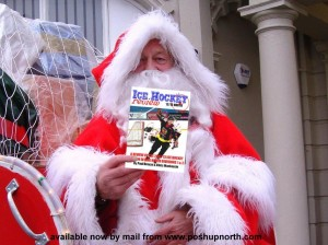 santa with ice hockey review book