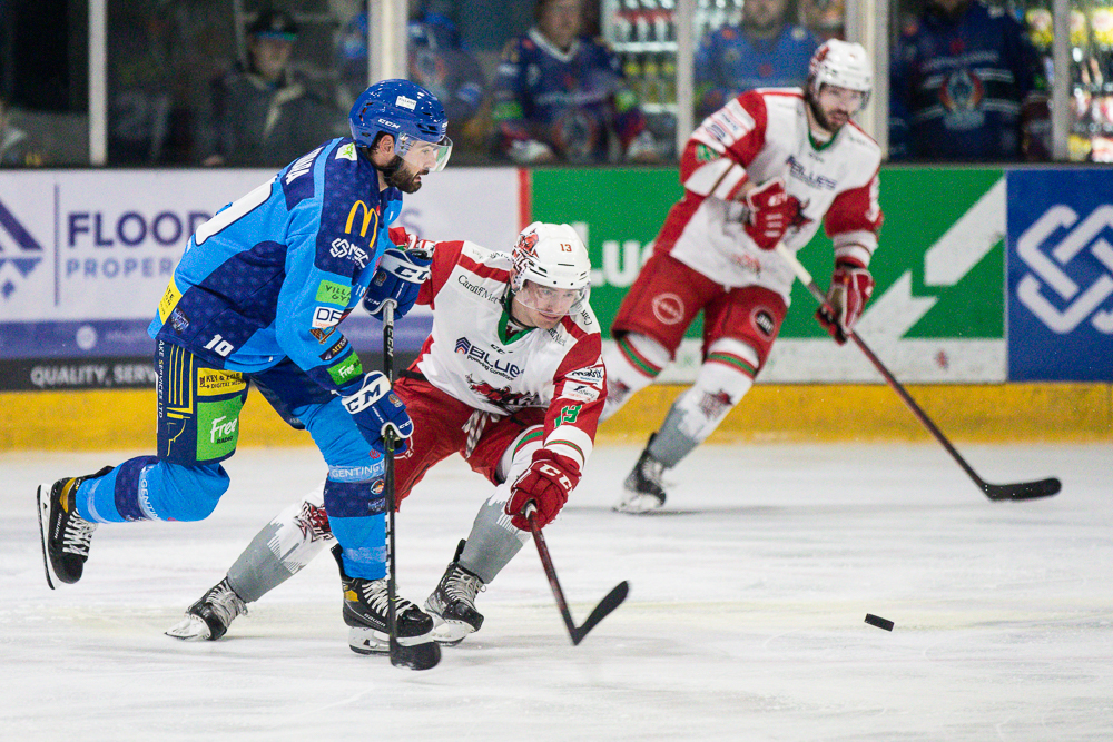 UK Ice Hockey action from EIHL Clash between Coventry Blaze and Cardiff Devils